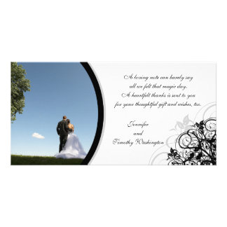 Elegant swirls wedding thank you photocard photo card