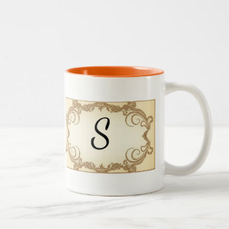 Elegant Swirls with Monogram Two-Tone Coffee Mug