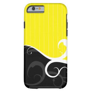 Elegant Swirls Yellow and Black Tough iPhone 6 Case