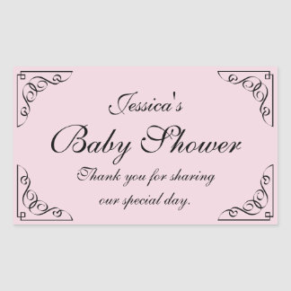 Elegant swirly baby shower party favor sticker