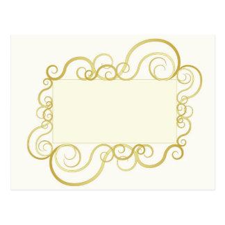 Elegant swirly frame in gold postcard