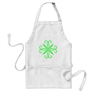 Elegant swirly neon green motif apron