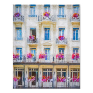 Elegant Swiss Windows Pink Floral Photographic Photo Print