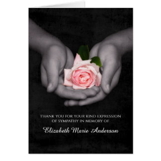 Elegant Sympathy Thank You Pink Rose In Hands Greeting Card