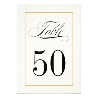 Elegant Table Number Card Solid Gold Border