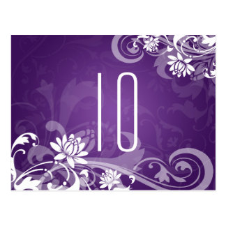 Elegant Table Number Floral Swirls Purple Postcard