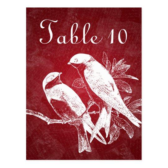 Elegant Table Number Love Birds Red Postcard