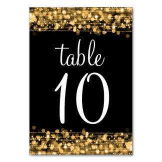 Elegant Table Number Party Sparkles Gold Table Card