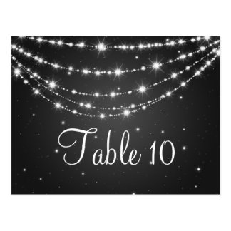 Elegant Table Number Sparkling Chain Black Postcard