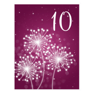 Elegant Table Number Summer Sparkle Merlot Pink Postcard