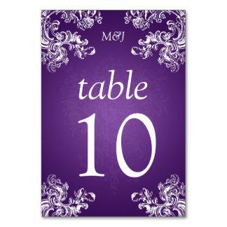 Elegant Table Number Vintage Swirls 2 Purple Table Card