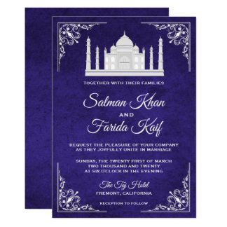Elegant Taj Mahal Royal Purple Wedding Invitation