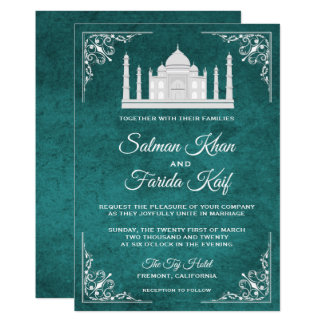 Elegant Taj Mahal Teal Arabian Wedding Invitation