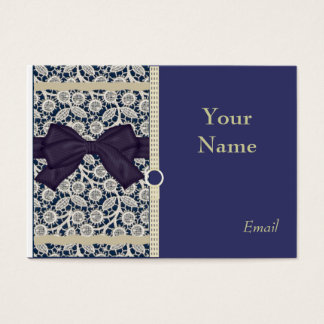 Elegant Tan Lace on Navy Business Cards