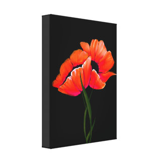 Elegant Tangerine Poppies on Black Canvas