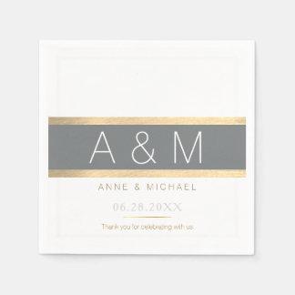 elegant / tasteful monogrammed wedding reception disposable serviettes