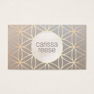 Elegant Taupe and Gold Pattern Designer Business Card