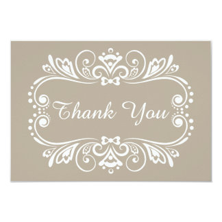 Elegant Taupe Wedding Thank You Note Cards