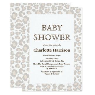 Elegant Taupe & White Cheetah Print Baby Shower Card