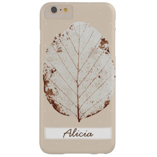 Elegant Taupe & White Leaf Skeleton Custom Name Barely There iPhone 6 Plus Case