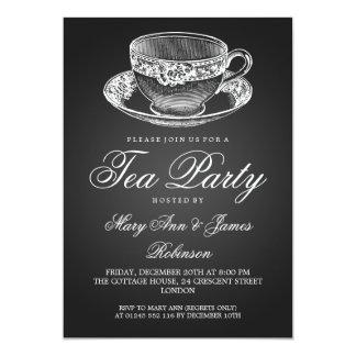 Elegant Tea Party Vintage Tea Cup Black 13 Cm X 18 Cm Invitation Card