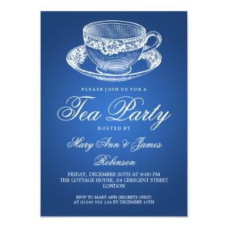 Elegant Tea Party Vintage Tea Cup Blue 13 Cm X 18 Cm Invitation Card