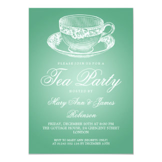 Elegant Tea Party Vintage Tea Cup Mint 13 Cm X 18 Cm Invitation Card