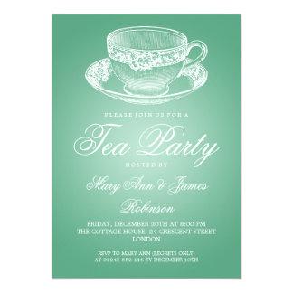 Elegant Tea Party Vintage Tea Cup Mint 13 Cm X 18 Cm Invitation Card
