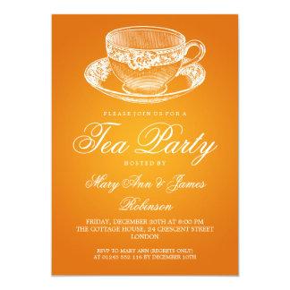 Elegant Tea Party Vintage Tea Cup Orange 13 Cm X 18 Cm Invitation Card