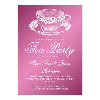 Elegant Tea Party Vintage Tea Cup Pink 13 Cm X 18 Cm Invitation Card
