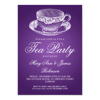 Elegant Tea Party Vintage Tea Cup Purple 13 Cm X 18 Cm Invitation Card