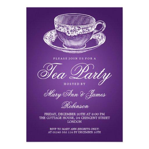 Elegant Tea Party Vintage Tea Cup Purple Invites