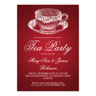 Elegant Tea Party Vintage Tea Cup Red 13 Cm X 18 Cm Invitation Card