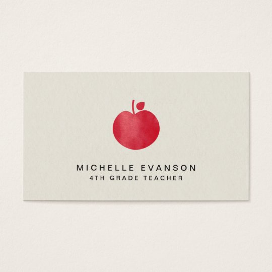 Elegant Teacher Professional Instructor Red Apple Business Card