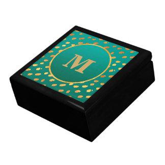 Elegant Teal and Gold Monogram Gift Box