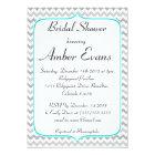 Elegant Teal and Grey Chevron Bridal Shower Card