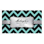 Elegant Teal Blue and Black Chevron Pattern Pack Of Standard Business Cards