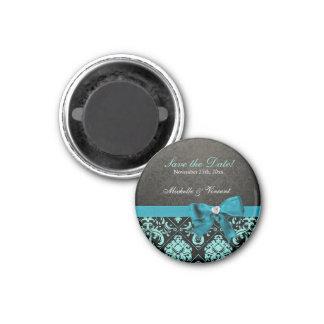 Elegant Teal Blue and Black Damask Save the Date Magnets