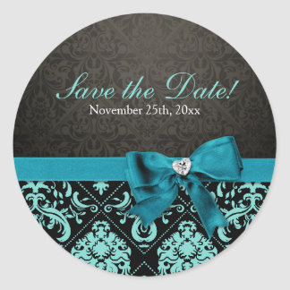 Elegant Teal Blue and Black Damask Save the Date Round Sticker