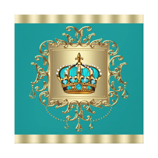 Elegant Teal Blue and Gold Crown Prince Stretched Canvas Prints