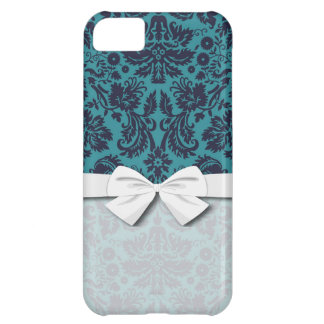 elegant teal blue and midnight damask iPhone 5C case