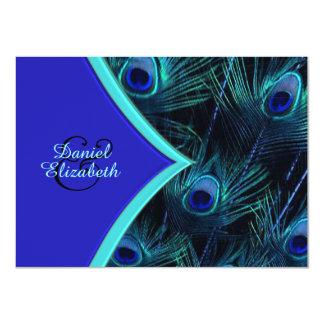 "Elegant Teal Blue and Royal Blue Peacock Wedding 4.5"" X 6.25"" Invitation Card"