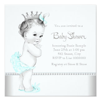 Elegant Teal Blue and Silver Baby Shower Card