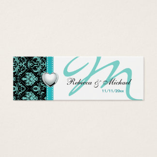 Elegant Teal Blue / Black Damask Favor Tags Mini Business Card