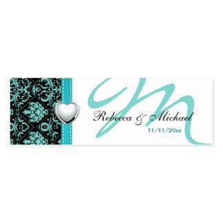 Elegant Teal Blue / Black Damask Favour Tags Pack Of Skinny Business Cards