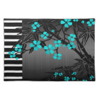 Elegant Teal Blue Blossom Black Asian Bamboo Placemat