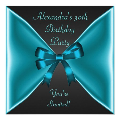 Elegant Teal Blue Bow Black Event Party Personalized Invitations