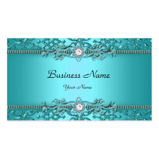 Elegant Teal Blue Damask Embossed Look Double-Sided Standard Business Cards (Pack Of 100)