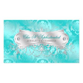 Elegant Teal Blue Damask Swirl Business Cards