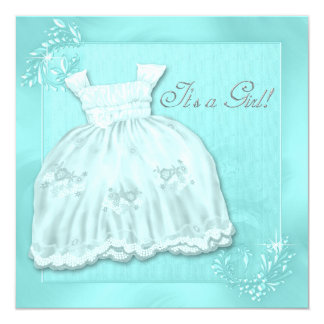 Elegant Teal Blue Dress Baby Shower Card